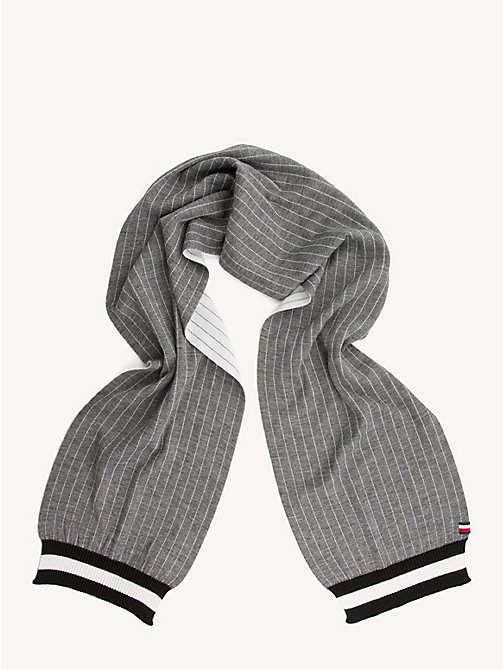 TOMMY HILFIGER Pinstripe Wool Blend Scarf - GREY MIX - TOMMY HILFIGER Winter Warmers - detail image 1