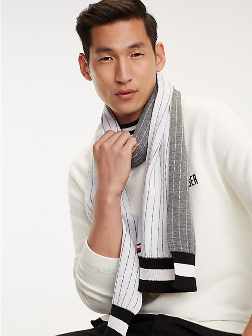 TOMMY HILFIGER Pinstripe Wool Blend Scarf - GREY MIX - TOMMY HILFIGER Winter Warmers - main image
