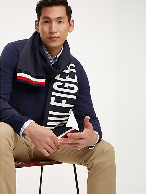 TOMMY HILFIGER Logo Sleeve Scarf - TOMMY NAVY - TOMMY HILFIGER NEW IN - main image