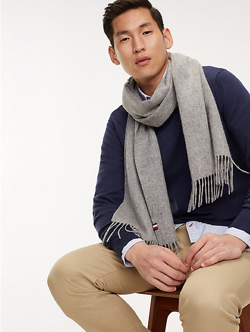TOMMY HILFIGER Luxury Wool Fringe Scarf - MID GREY - TOMMY HILFIGER Winter Warmers - main image