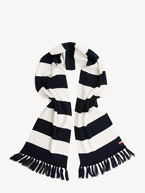 TOMMY HILFIGER Stripe Wool Blend Scarf - BLUE STRIPES MIX - TOMMY HILFIGER Winter Warmers - detail image 1