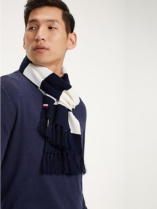 TOMMY HILFIGER Stripe Wool Blend Scarf - BLUE STRIPES MIX - TOMMY HILFIGER Winter Warmers - main image