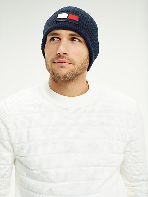 TOMMY HILFIGER Flag Wool Beanie Hat - TOMMY NAVY - TOMMY HILFIGER Winter Warmers - detail image 1