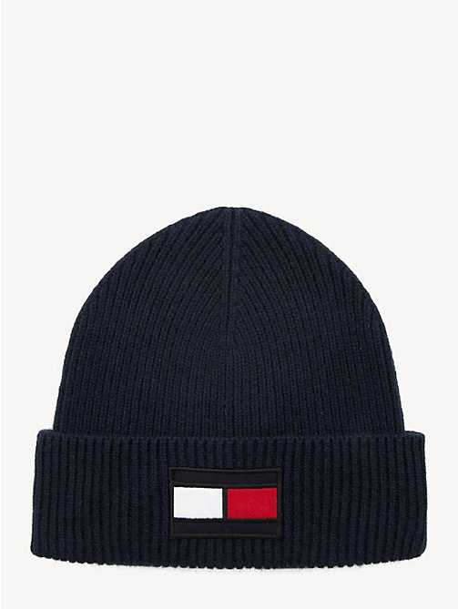 TOMMY HILFIGER Flag Wool Beanie Hat - TOMMY NAVY - TOMMY HILFIGER Winter Warmers - main image