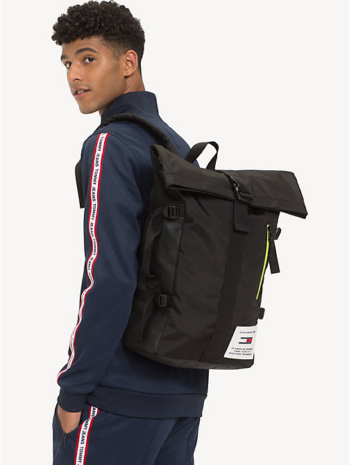 TOMMY JEANS TH Tech Neon Roll Backpack - BLACK - TOMMY JEANS Backpacks - detail image 1