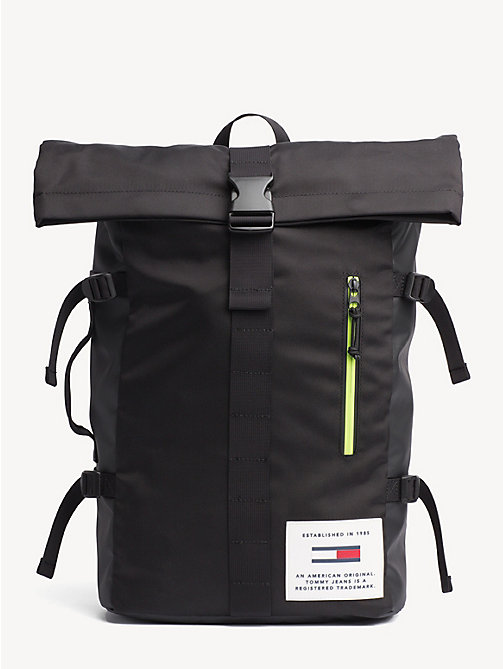 TOMMY JEANS TH Tech Neon Roll Backpack - BLACK - TOMMY JEANS Backpacks - main image