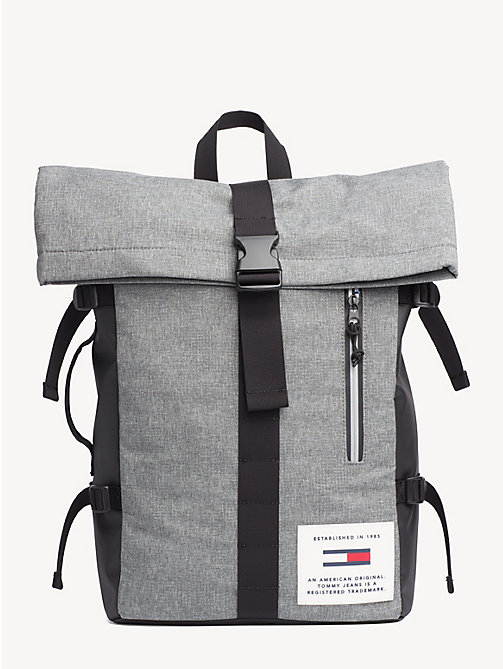 TOMMY JEANS TH tech rugzak met roll-top - LT GREY HTR - TOMMY JEANS NIEUW - main image