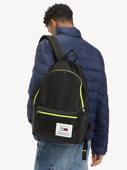 TOMMY JEANS TH Tech Neon Trim Dome Backpack - BLACK - TOMMY JEANS Backpacks - detail image 1