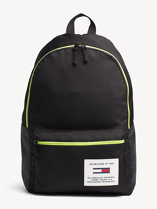TOMMY JEANS TH Tech Neon Trim Dome Backpack - BLACK - TOMMY JEANS Backpacks - main image