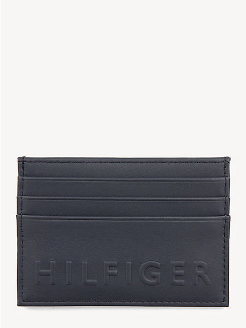 TOMMY HILFIGER TH Embossed Card Holder - TOMMY NAVY & TOMMY RED - TOMMY HILFIGER Wallets & Keyrings - main image