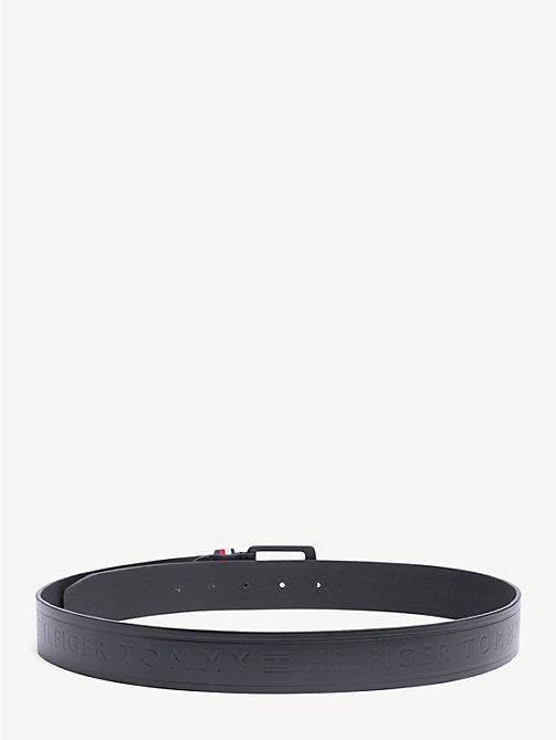 TOMMY HILFIGER Embossed Leather Belt - BLACK - TOMMY HILFIGER NEW IN - detail image 1