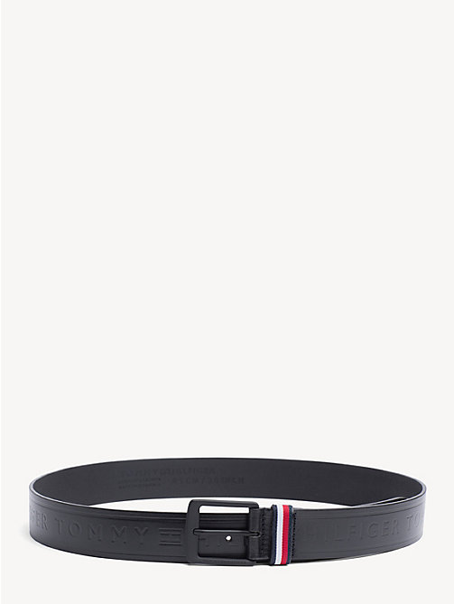 TOMMY HILFIGER Embossed Leather Belt - BLACK - TOMMY HILFIGER NEW IN - main image