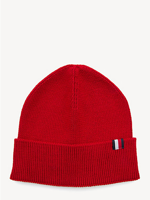 TOMMY HILFIGER Wool Blend Beanie - SALSA RED - TOMMY HILFIGER NEW IN - main image
