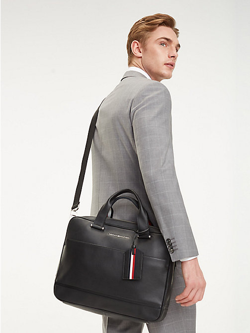 TOMMY HILFIGER Business leren laptoptas - BLACK - TOMMY HILFIGER NIEUW - detail image 1