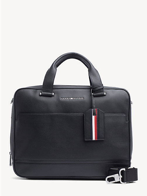 TOMMY HILFIGER Business leren laptoptas - BLACK - TOMMY HILFIGER NIEUW - main image