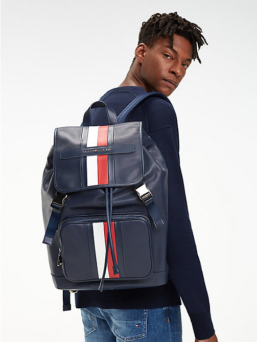 TOMMY HILFIGER Elevated leren signature-rugzak - TOMMY NAVY - TOMMY HILFIGER NIEUW - detail image 1