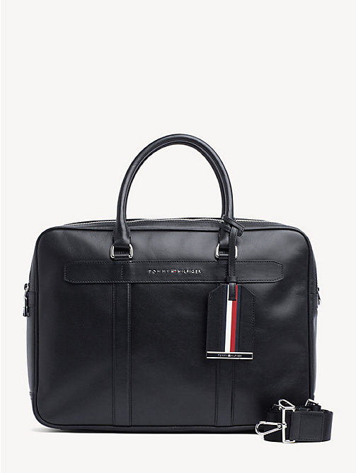TOMMY HILFIGER Elevated leren laptoptas - BLACK - TOMMY HILFIGER NIEUW - main image