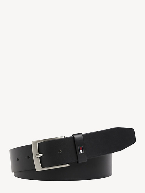 TOMMY HILFIGER Flag Leather Belt - BLACK - TOMMY HILFIGER Belts - main image