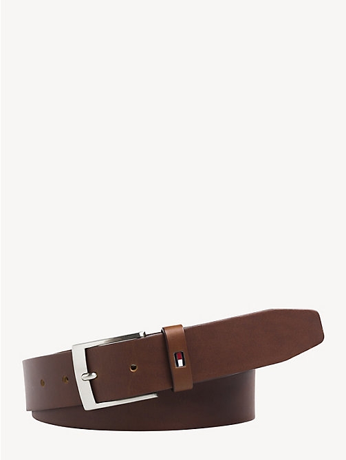 TOMMY HILFIGER Flag Leather Belt - DARK TAN - TOMMY HILFIGER Belts - main image