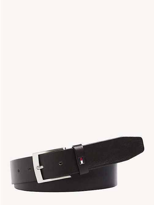TOMMY HILFIGER Flag Leather Belt - TESTA DI MORO - TOMMY HILFIGER Belts - main image