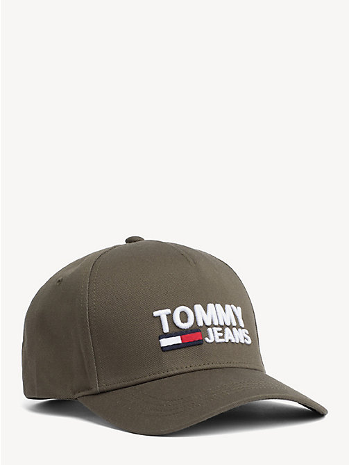 afa117a9 green pure cotton logo baseball cap for men tommy jeans
