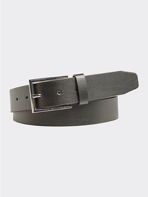 4c752ff3a720e3 black pure leather engraved buckle belt for men tommy hilfiger