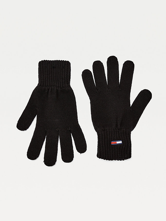 black rib-knit organic cotton gloves for men tommy jeans