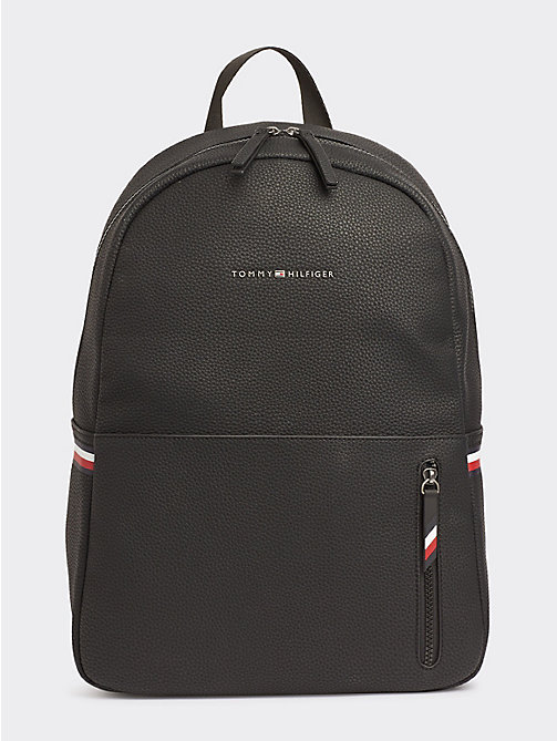 505087aa44193 black essential pebble grain logo backpack for men tommy hilfiger