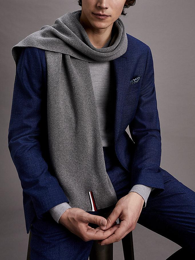 64eaf1a18c84c Rib-Knit Pure Cotton Scarf | GREY MELANGE | Tommy Hilfiger