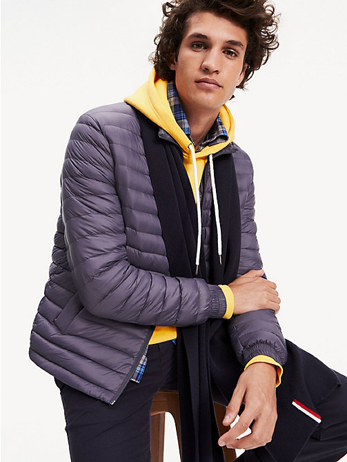 0bdab948790f8 blue rib-knit pure cotton scarf for men tommy hilfiger