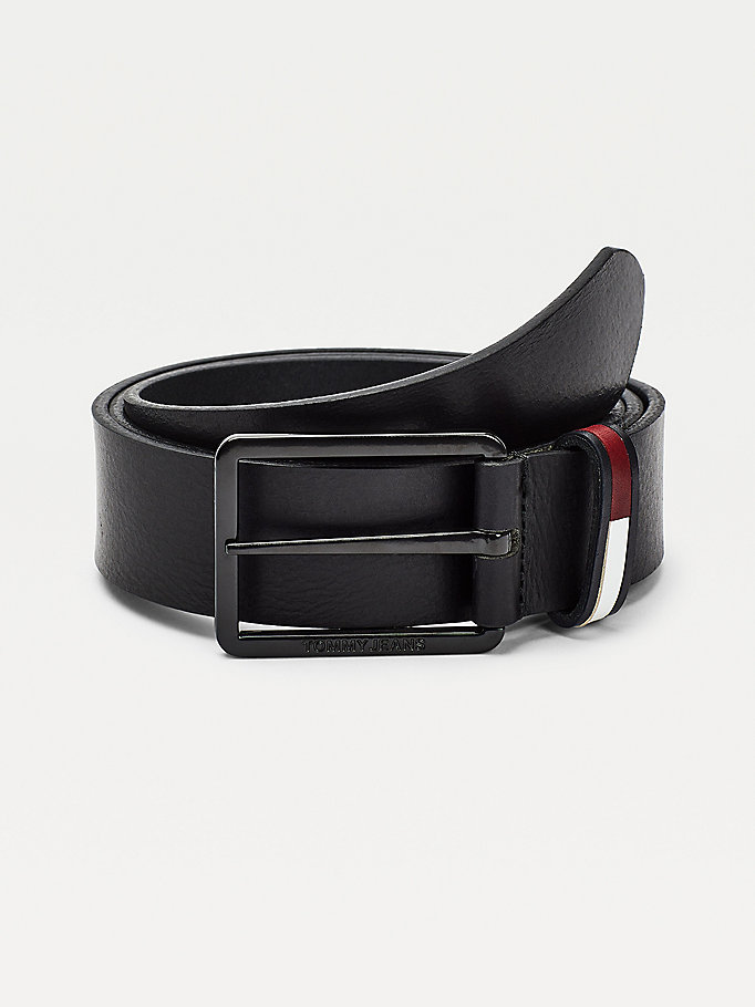 black flag inlay keeper leather belt for men tommy jeans