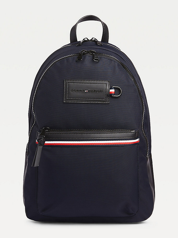 blue tommy hilfiger logo backpack for men tommy hilfiger