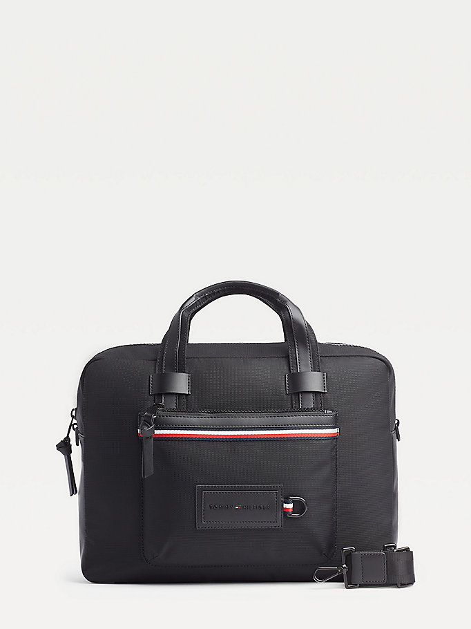 black convertible modern computer bag for men tommy hilfiger