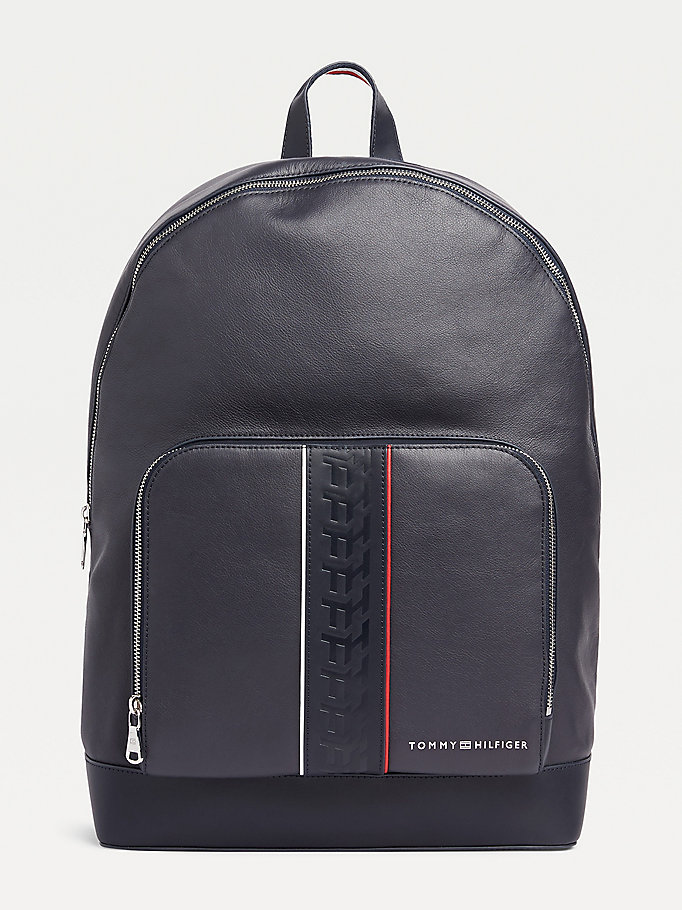 blue embossed monogram leather backpack for men tommy hilfiger