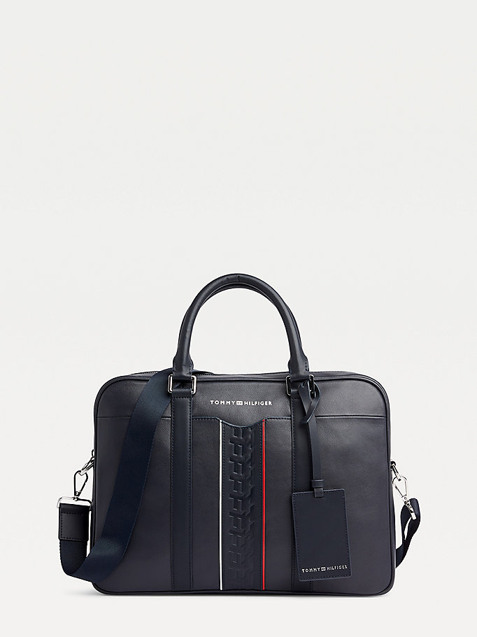 blue stripe detail leather computer bag for men tommy hilfiger
