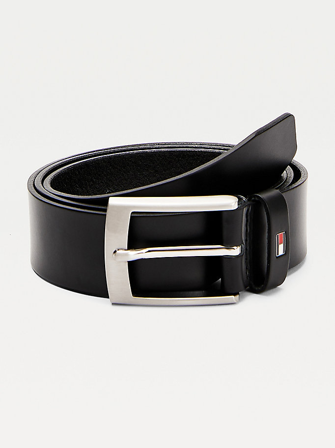 black brushed metal buckle leather belt for men tommy hilfiger
