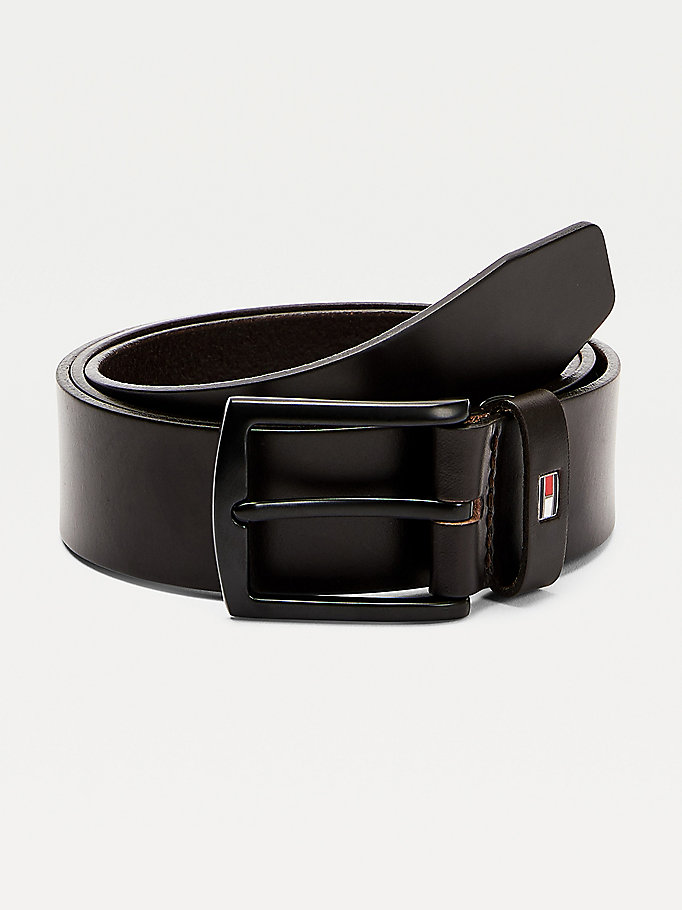 brown denton leather belt for men tommy hilfiger