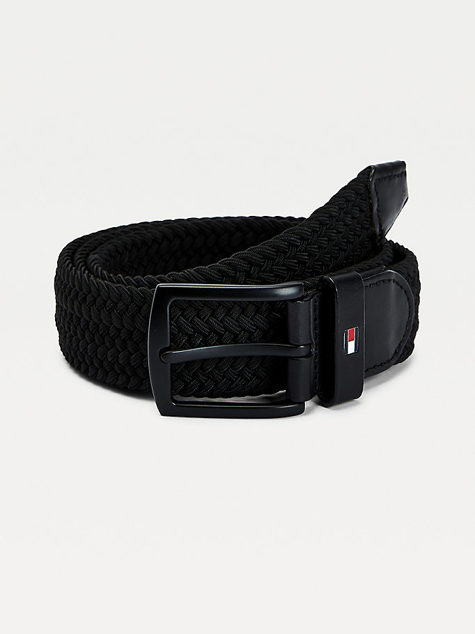 black denton elastic belt for men tommy hilfiger