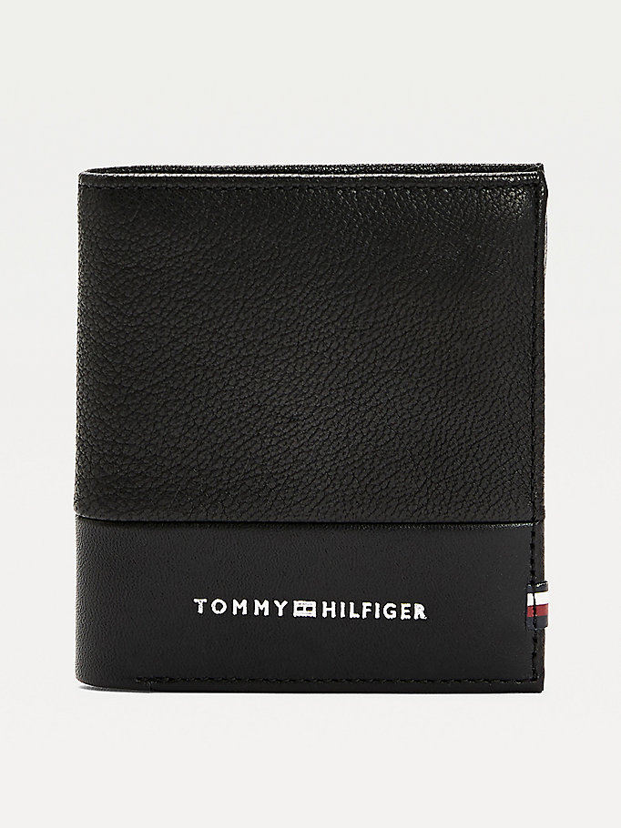 black contrast panel tri-fold leather wallet for men tommy hilfiger