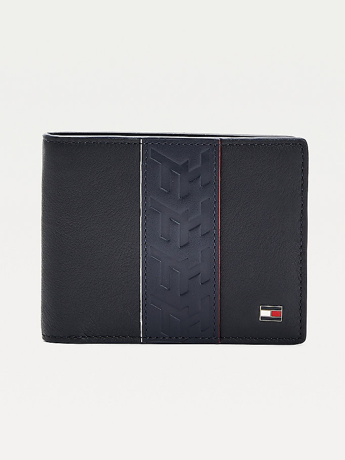 black small stripe detail leather wallet for men tommy hilfiger