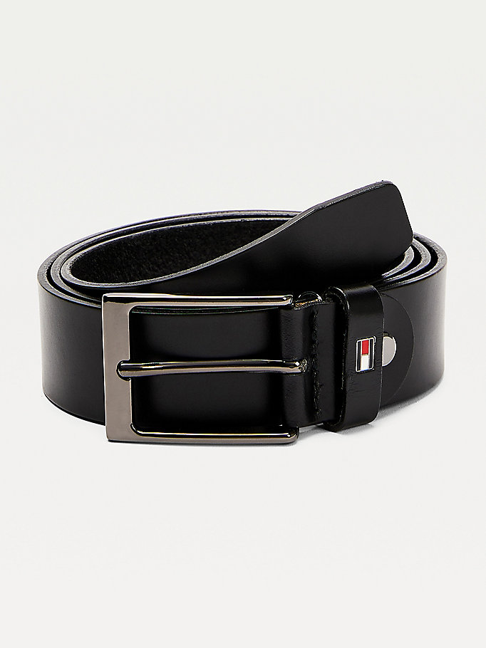 black adjustable leather belt for men tommy hilfiger