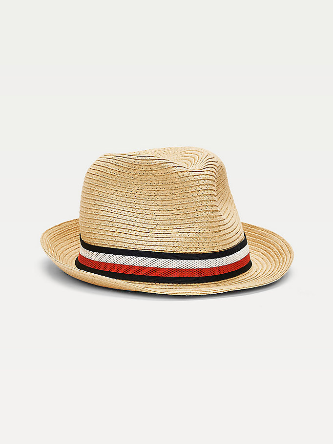 beige signature tape band woven straw hat for men tommy hilfiger