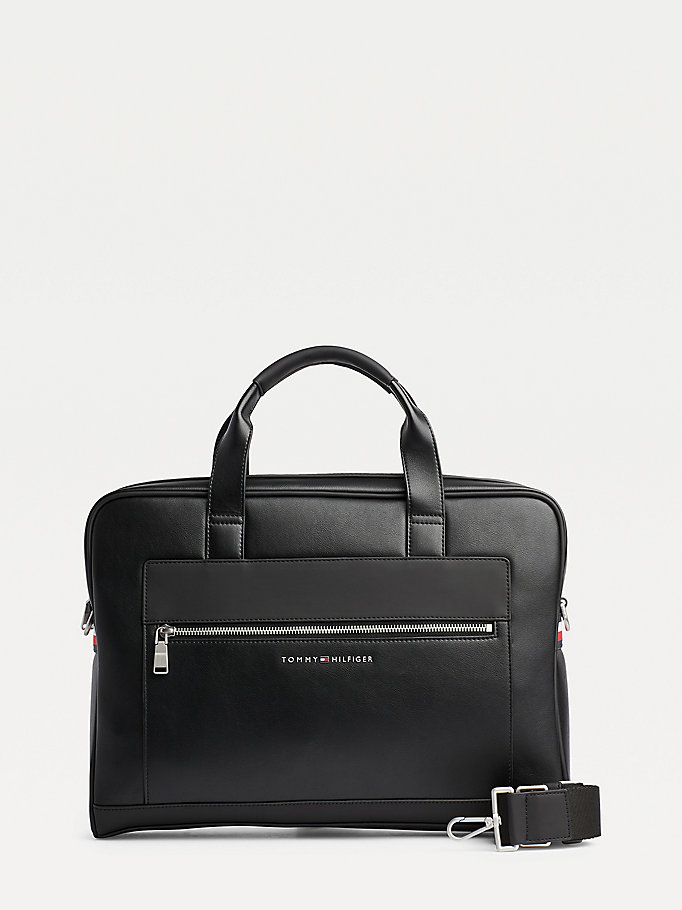 black metro computer bag for men tommy hilfiger