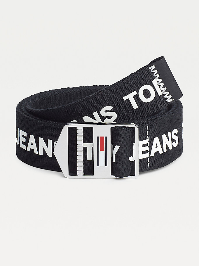 black tommy jeans explorer logo belt for men tommy jeans