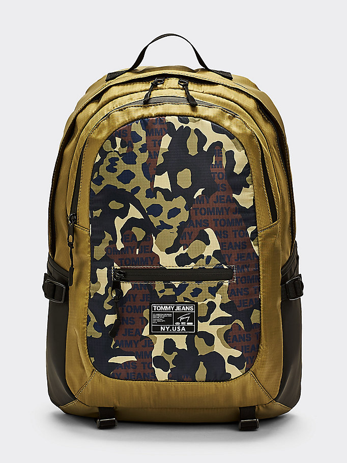 khaki tommy jeans urban tech camouflage backpack for men tommy jeans