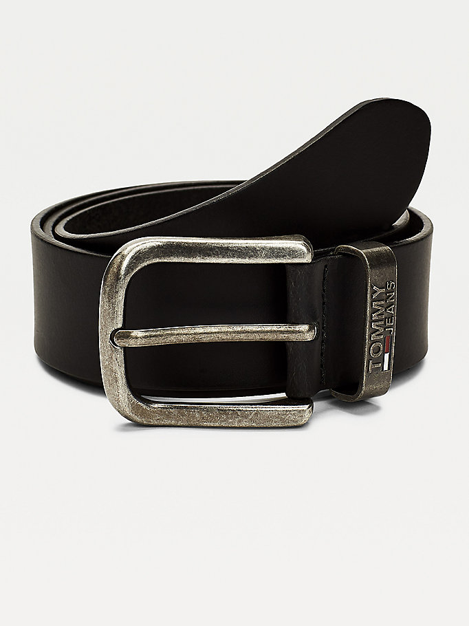 black logo leather belt for men tommy jeans