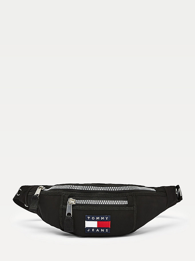 black heritage chunky zip bumbag for men tommy jeans