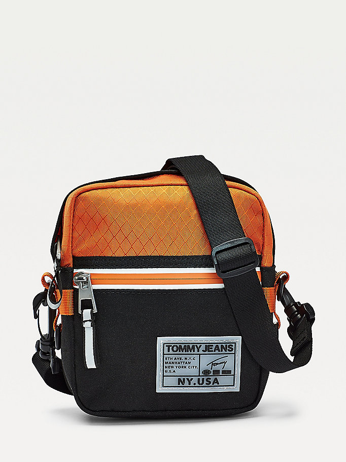 orange surplus logo diamond contrast reporter bag for men tommy jeans