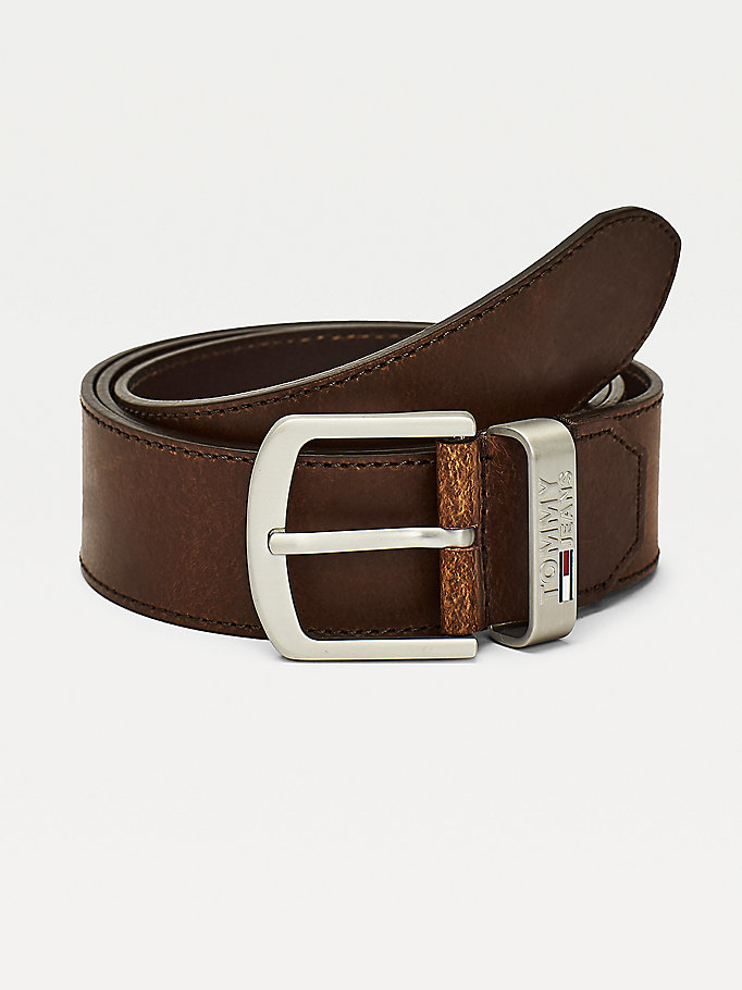 brown engraved logo leather belt for men tommy jeans