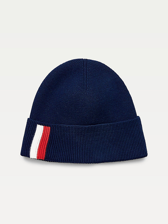 blue signature cotton cashmere beanie for men tommy hilfiger